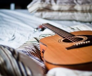guitar, music, and bed image
