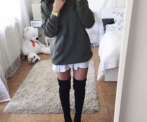 fall fashion, over the knee boots, and ootd image