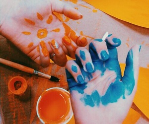 blue, orange, and paint image