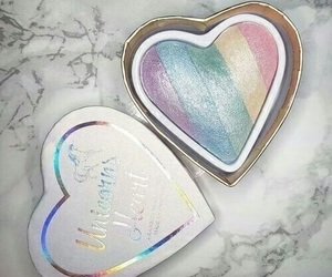 makeup, rainbow, and beauty image
