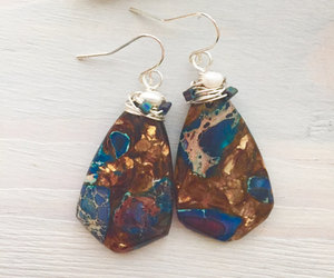 statement earrings, wire wrapped stone, and wire wrapped earring image