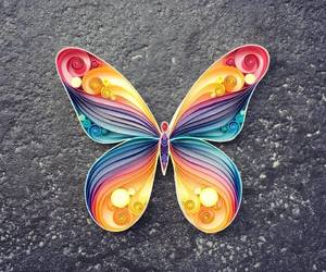 butterfly, Paper, and rainbow image