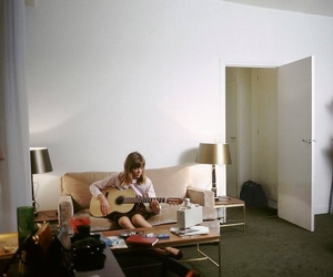 francoise hardy, girl, and guitar image