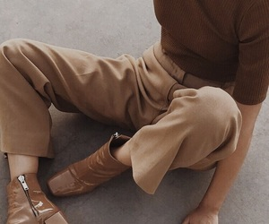 fashion, brown, and outfit image