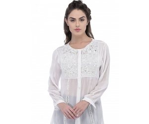 stylish dress and white sheer shirt image
