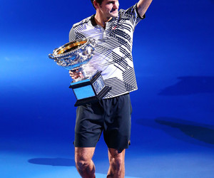 federer, happy, and fit image