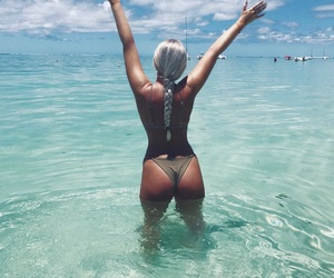 bikini, blonde, and blue image