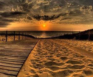 beach, sunset, and sand image