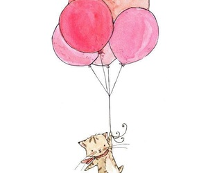 cat, kitten, and balloons image