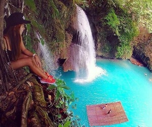 summer, waterfall, and paradise image