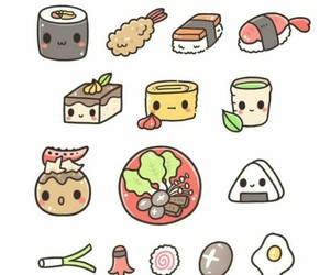 food, sushi, and sushi with faces image