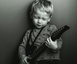 music, guitar, and baby image