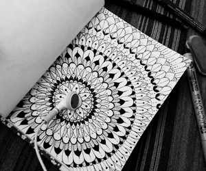 black and white, drawing, and mandala image