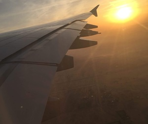 airplane, desert, and Dubai image