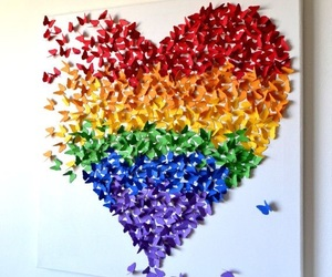 butterfly, heart, and colorful image