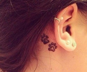 tattoo, tattoo behind the ear, and cat paws image