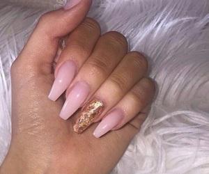 gold, pink, and nails image