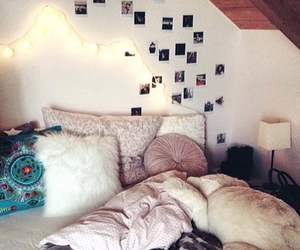 bed, lights, and photos image