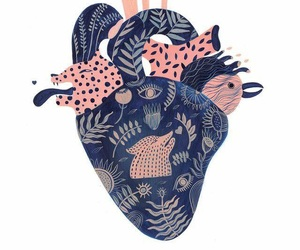 animal, heart, and pattern image
