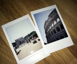 colosseum, italy, and polaroid image