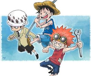 kids, Law, and luffy image