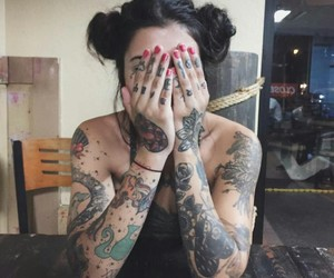 tattoo, girl, and grunge image