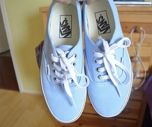 blue, shoes, and vans of the wall image