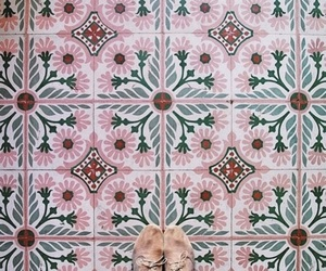 pink, tiles, and pattern image