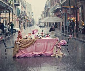 pink, rain, and street image