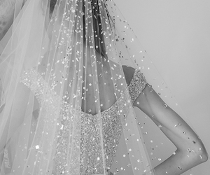 black and white, bride, and wedding image
