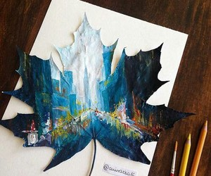 art, blue, and city image