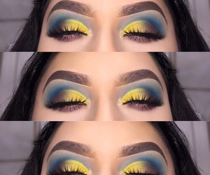 blue eyeshadow, black eyeshadow, and makeup looks image