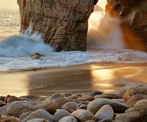 beach, sea, and rock image
