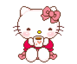 hello kitty and pixel image