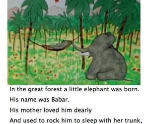 babar, text, and cartoon image