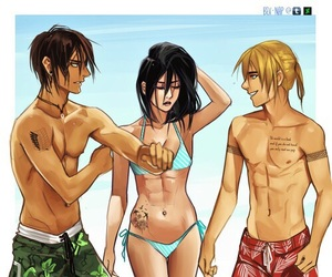 anime, friends, and beach image