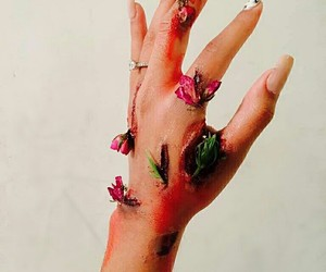 flowers, hand, and wound image