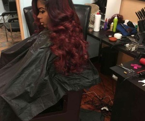 burgundy and weave image