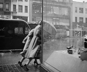 black and white, rain, and vintage image