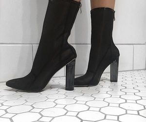 accessories, black and white, and boots image