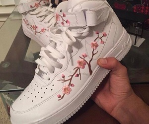 shoes, flowers, and nike image