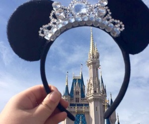 castle, disney world, and ears image