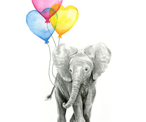 baby room, balloons, and elephant print image