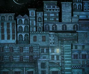 night, moon, and city image