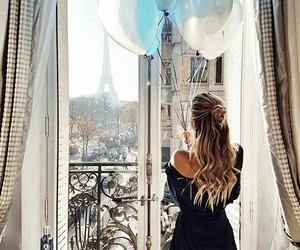 girl, paris, and scenery image