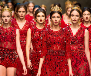 red, model, and runway image