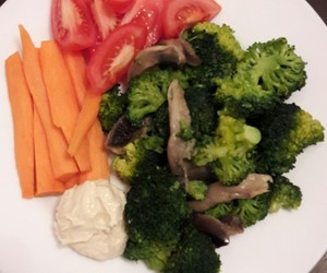 dinner, healthy, and hummus image