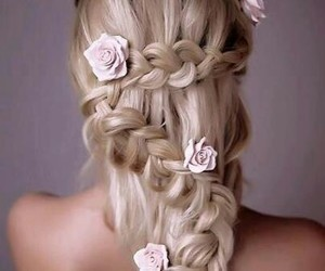hair, rose, and style image