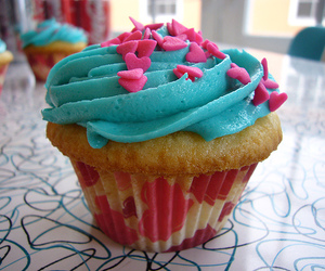 cupcake, blue, and food image