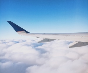 airplane, clouds, and travel image